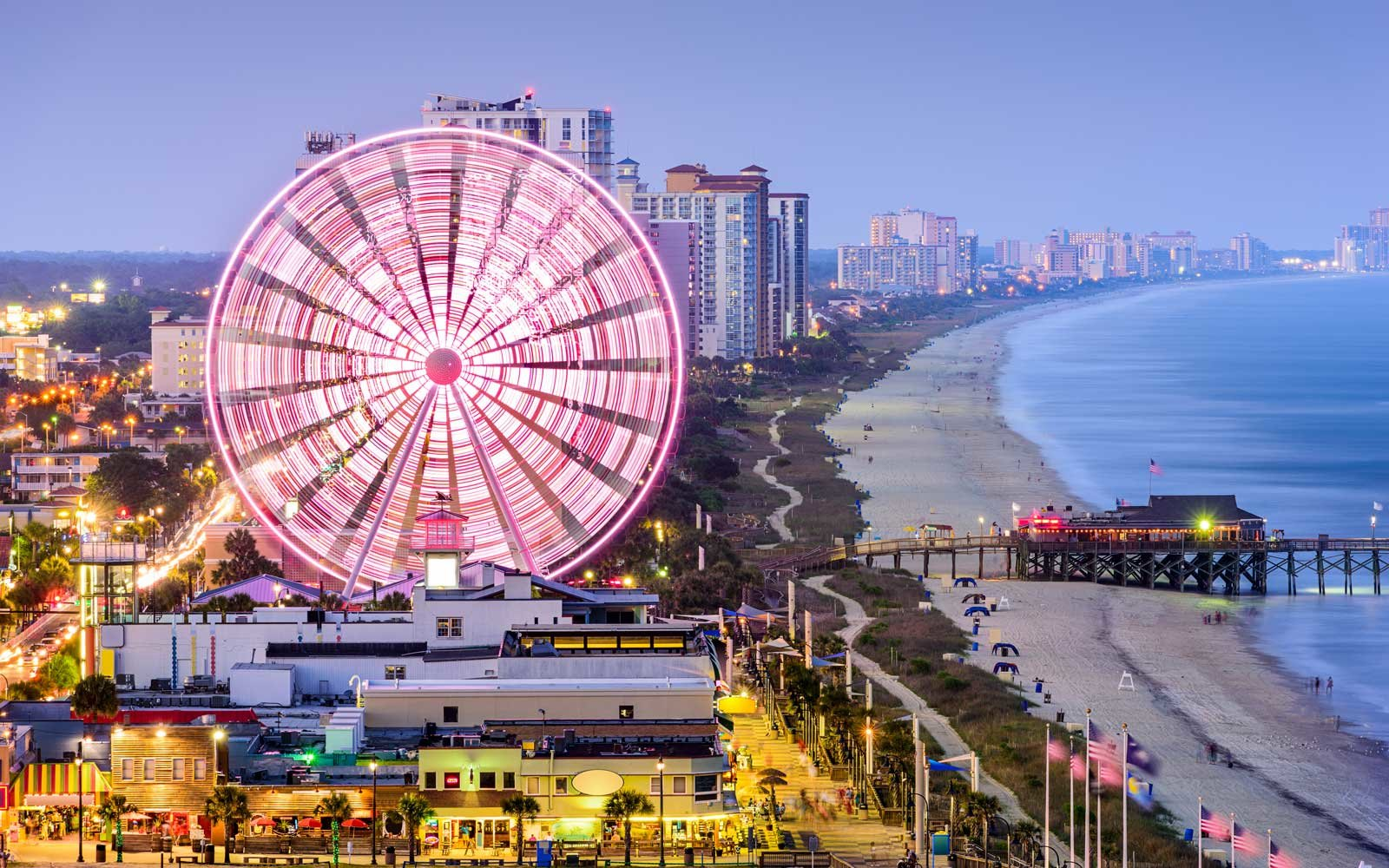 Ferris Wheel at Myrtle Beach, SC, at night