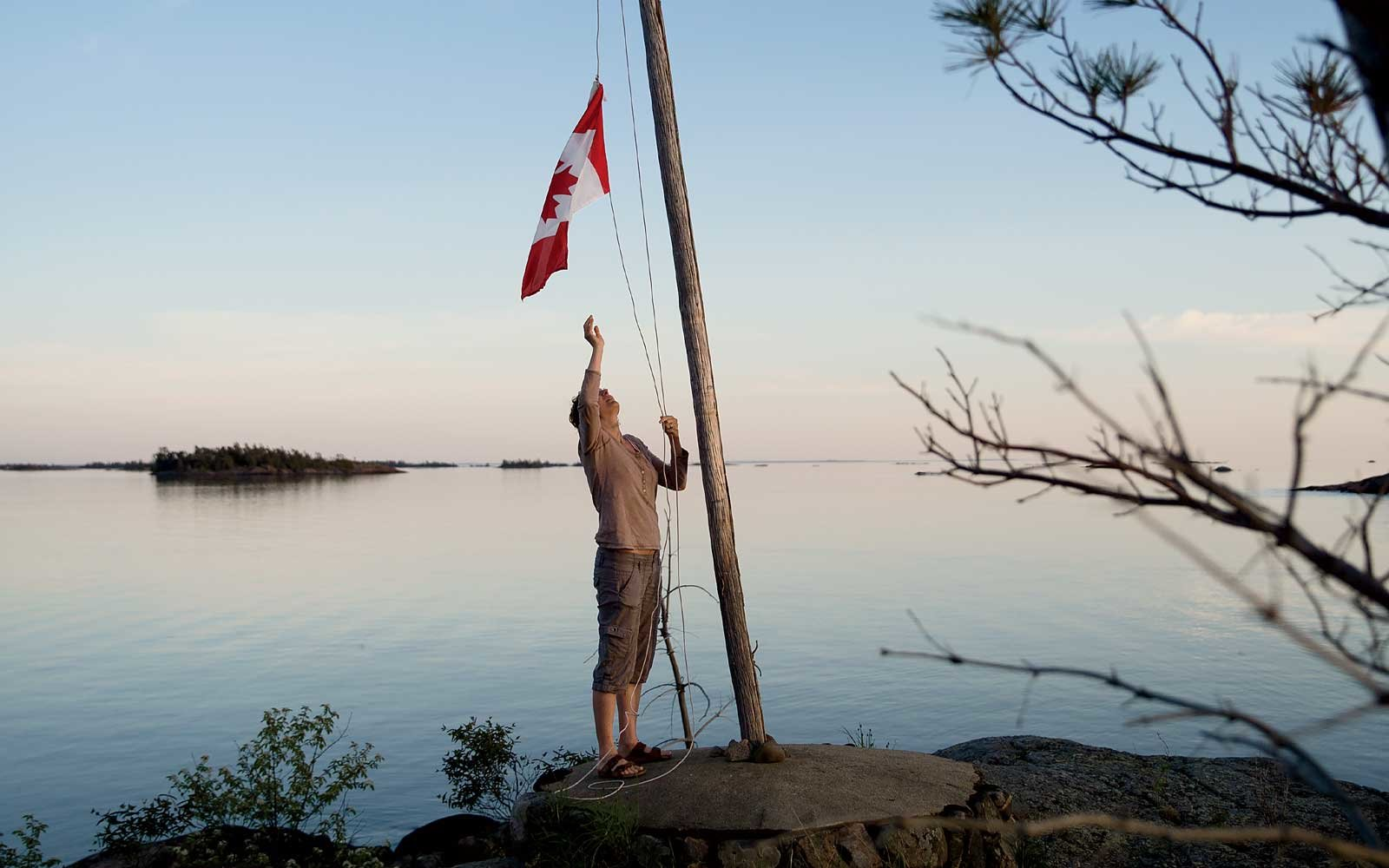 Raising (or lowering) the Canadian flag in rural Canada