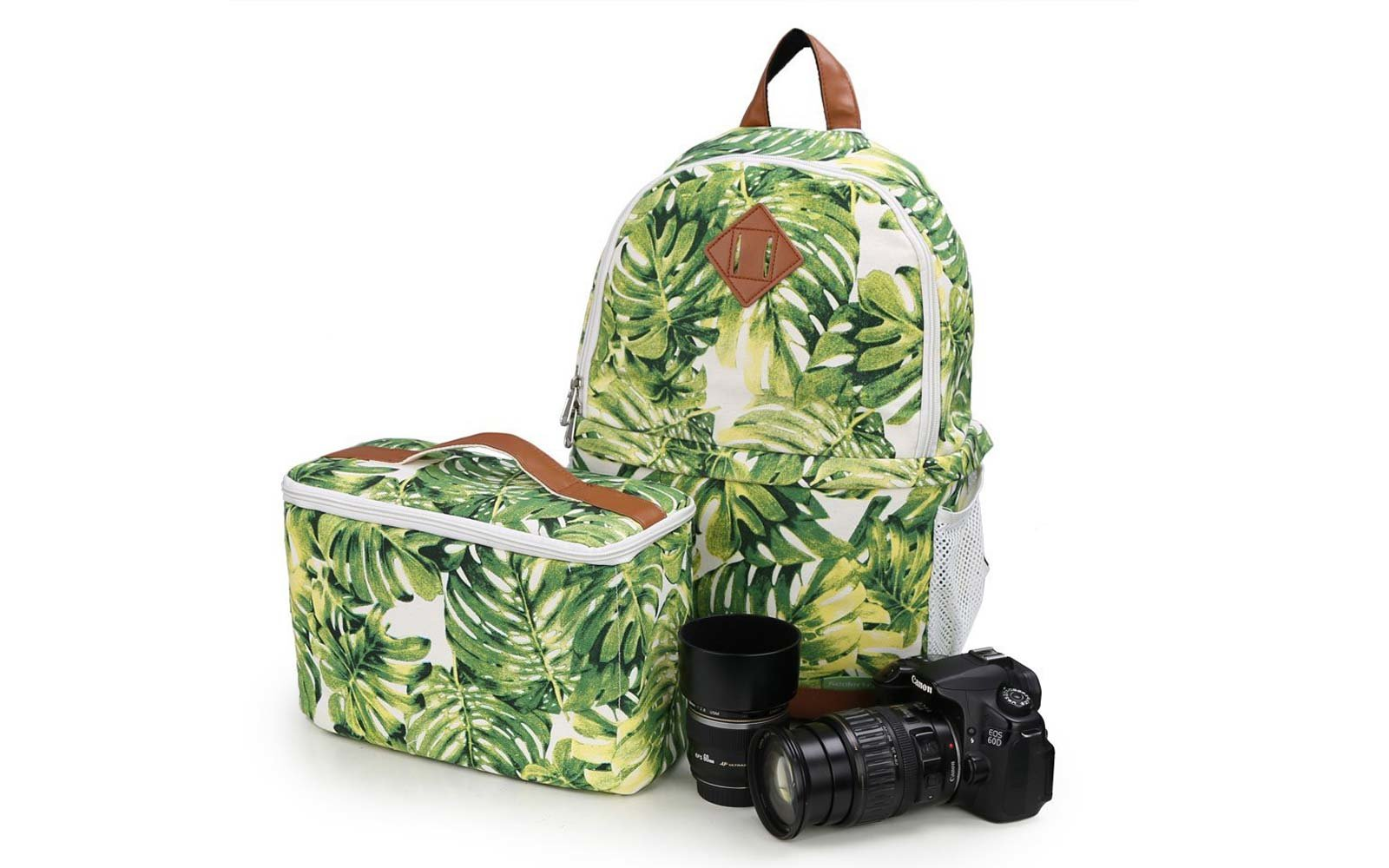 Camera Backpack in palm print