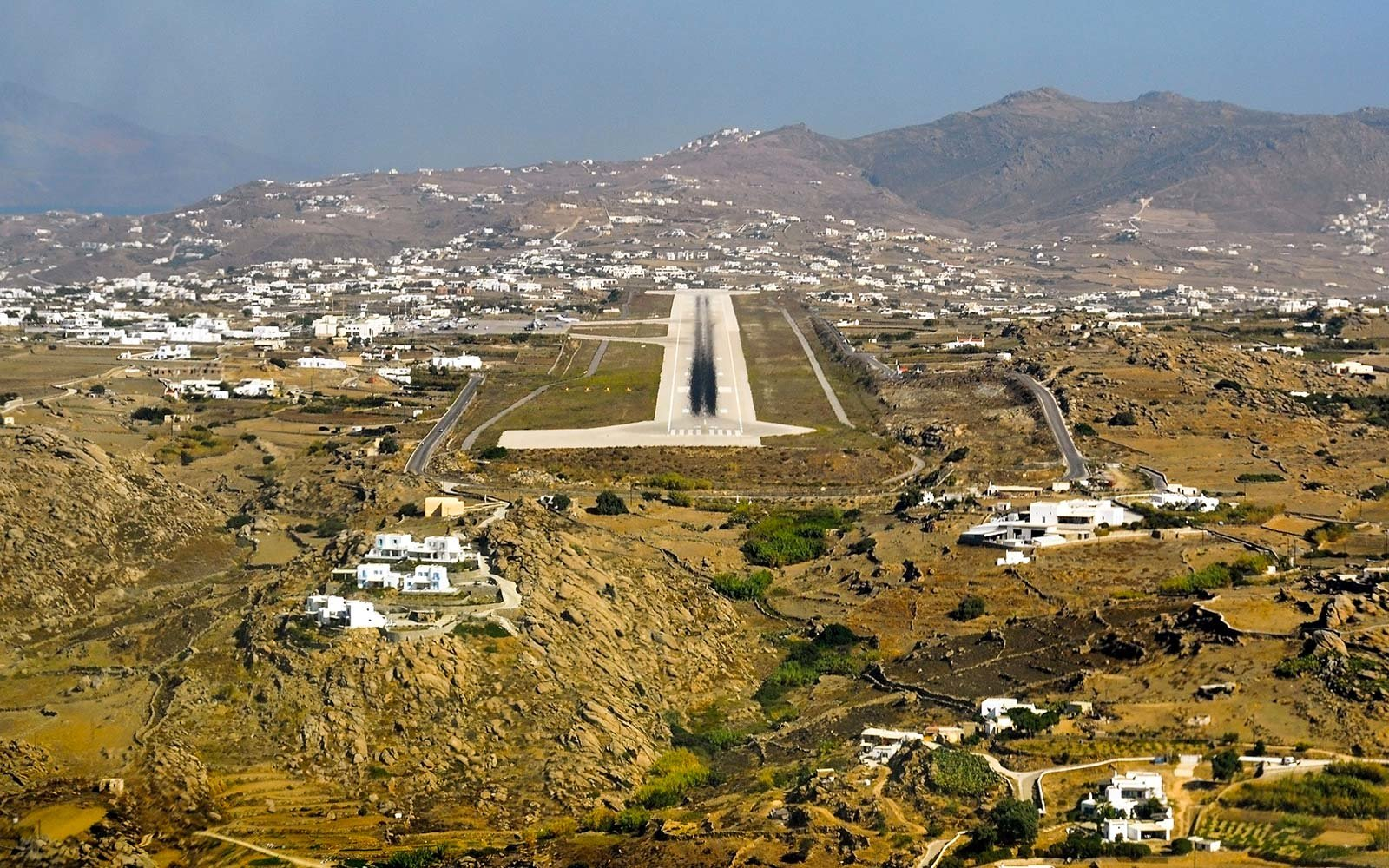 Mykonos Airport runway approach island Greece