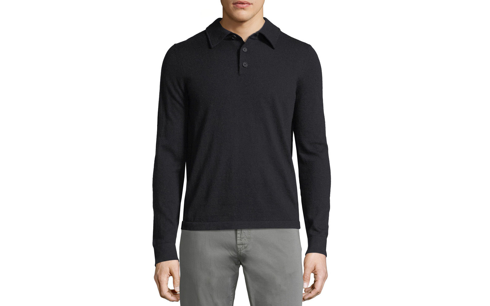 Neiman Marcus Cashmere Long Sleeve Polo Sweater