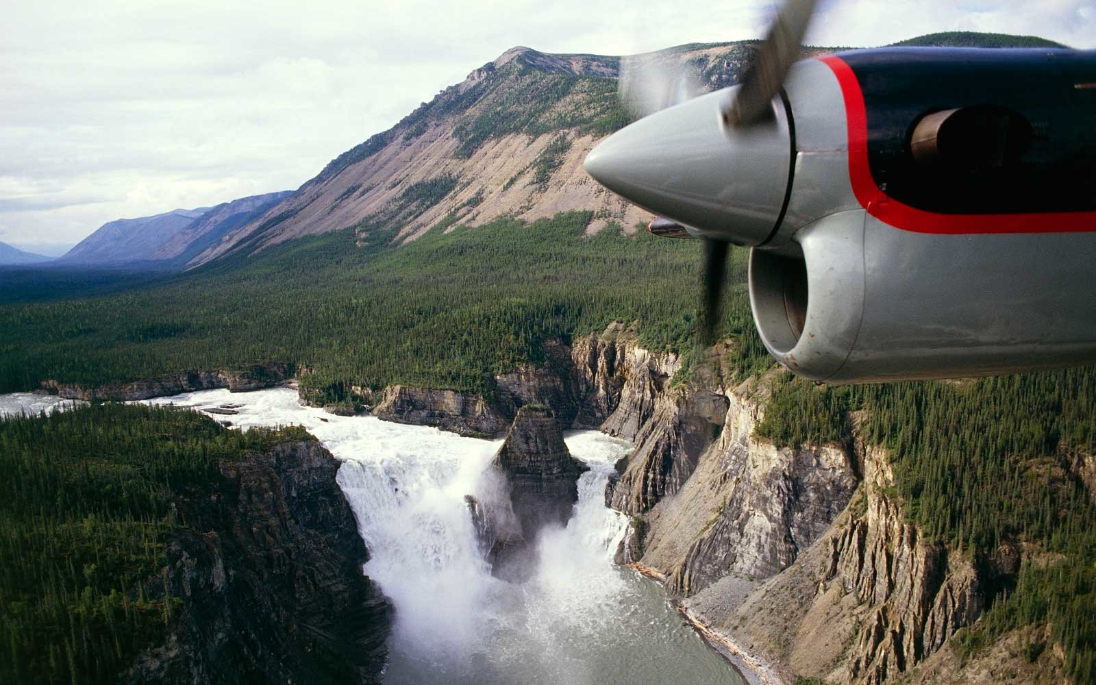 Aerial view of Virginia Falls, Nahanni National Park Reserve
