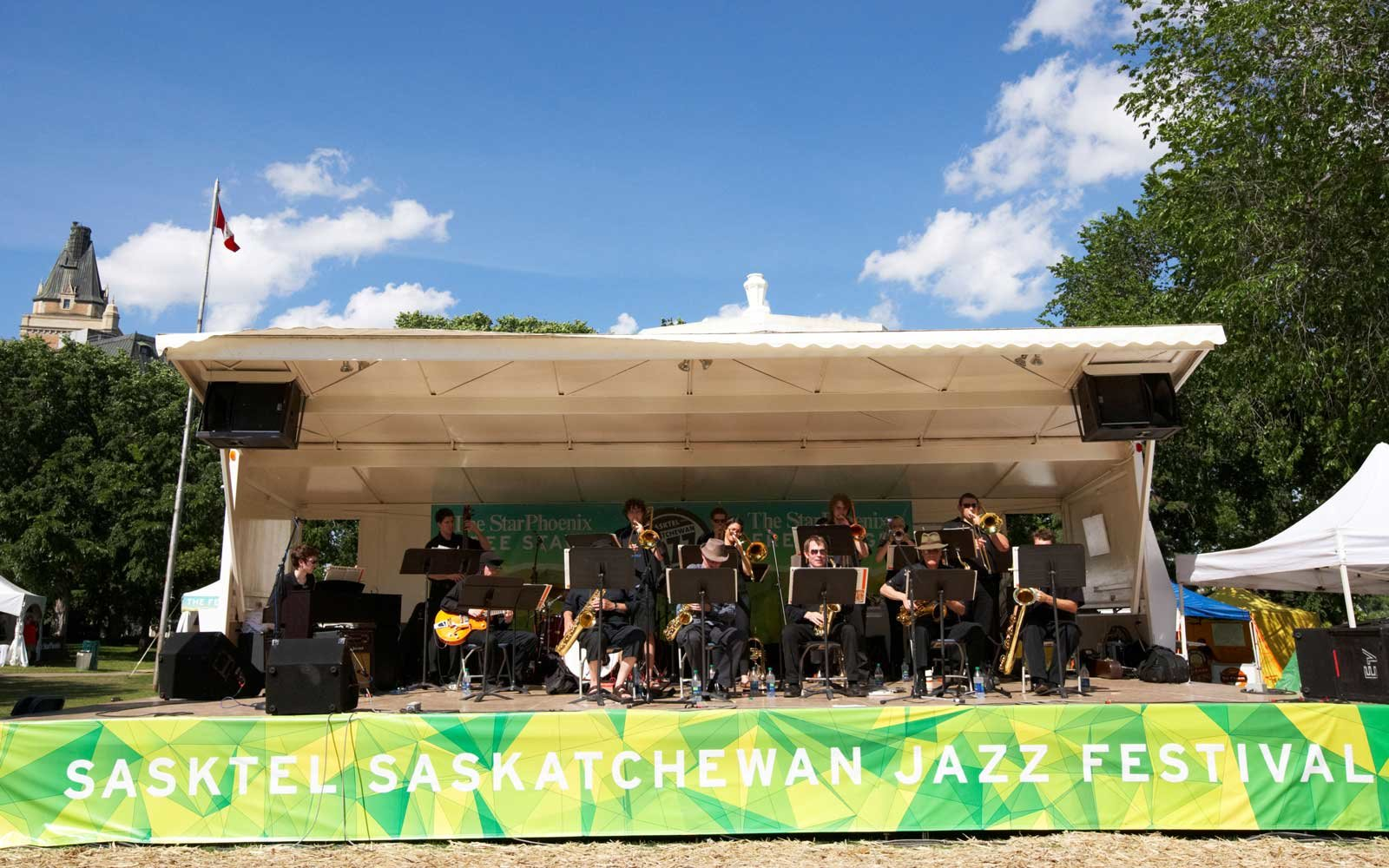 Band playing on stage at the Saskatoon Saskatchewan Jazz Festival in Canada