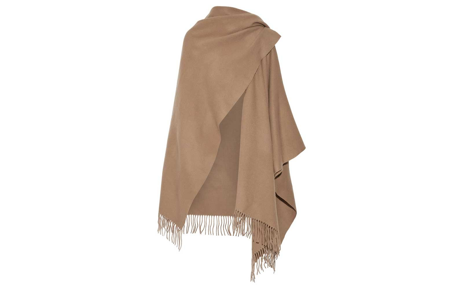 Acne Studios fringed wool wrap in camel