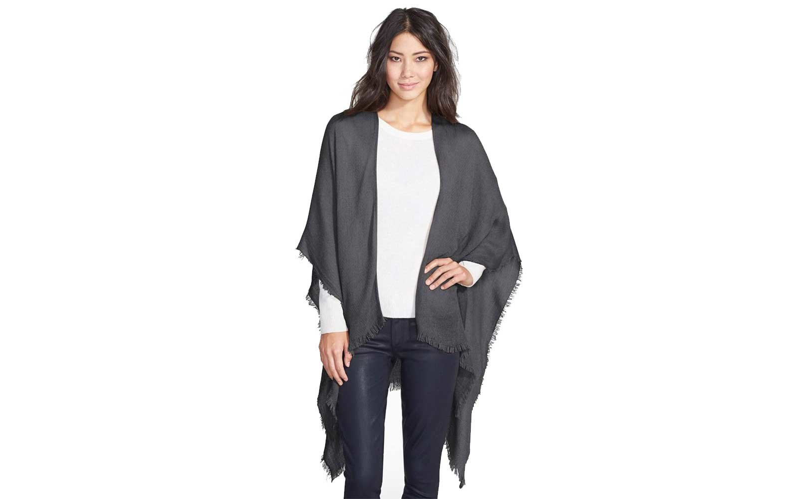 Grey Echo fringe trimmed cape