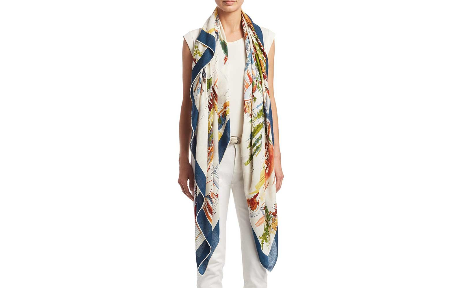 Loro Piana printed travel scarf with scenes of Tuscany