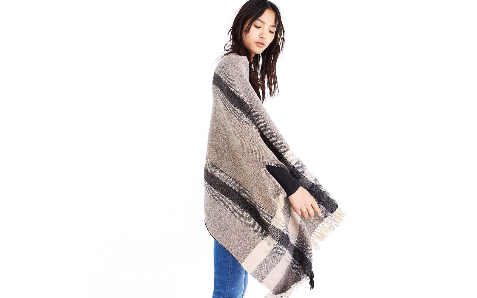 Striped poncho from Madewell