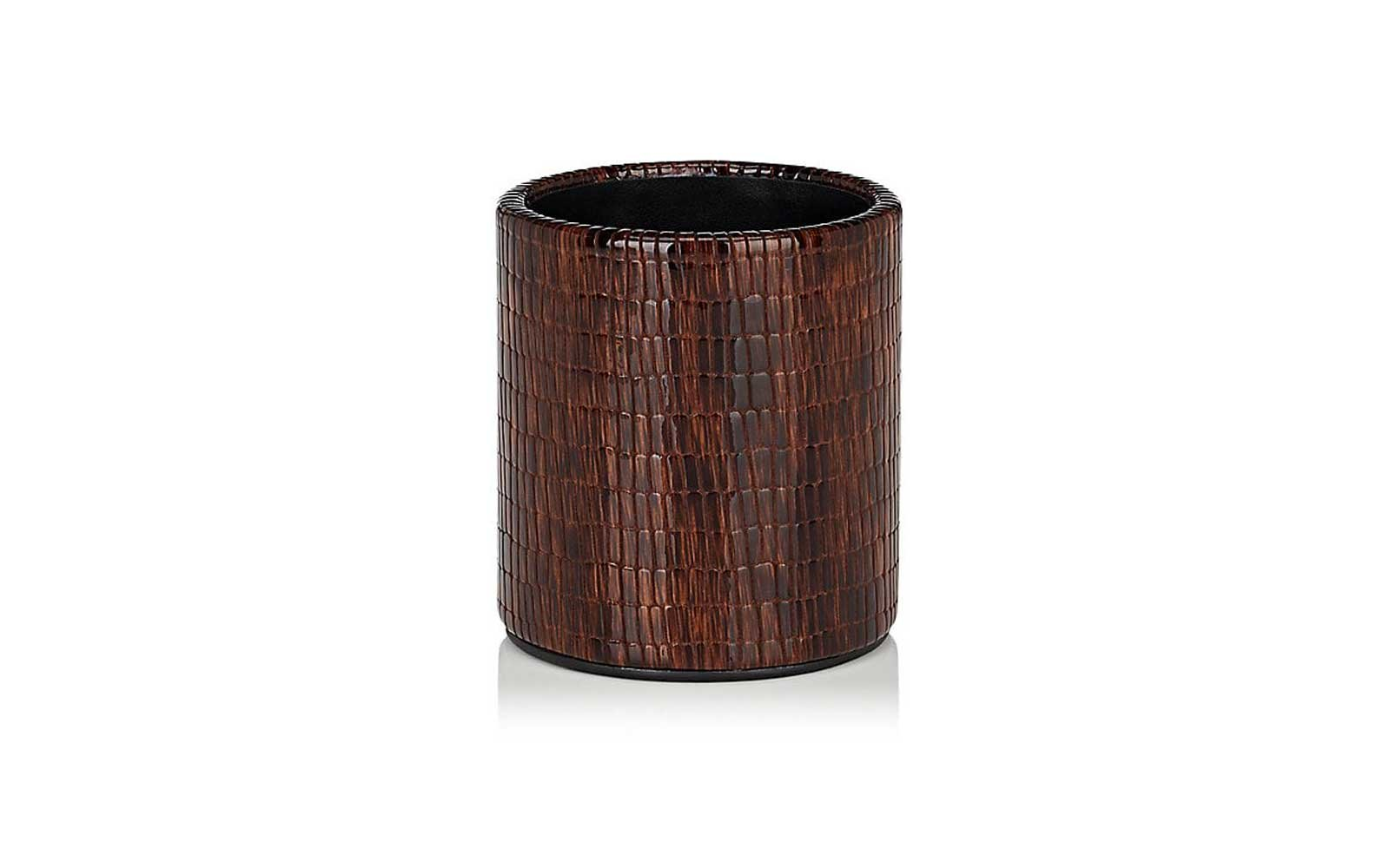Glazed Leather Pencil Cup