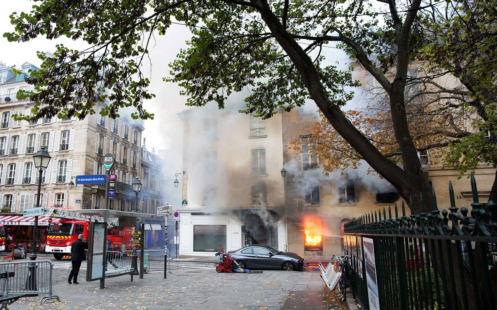 La Hune bookstore St Germain neighborhood fire Paris France