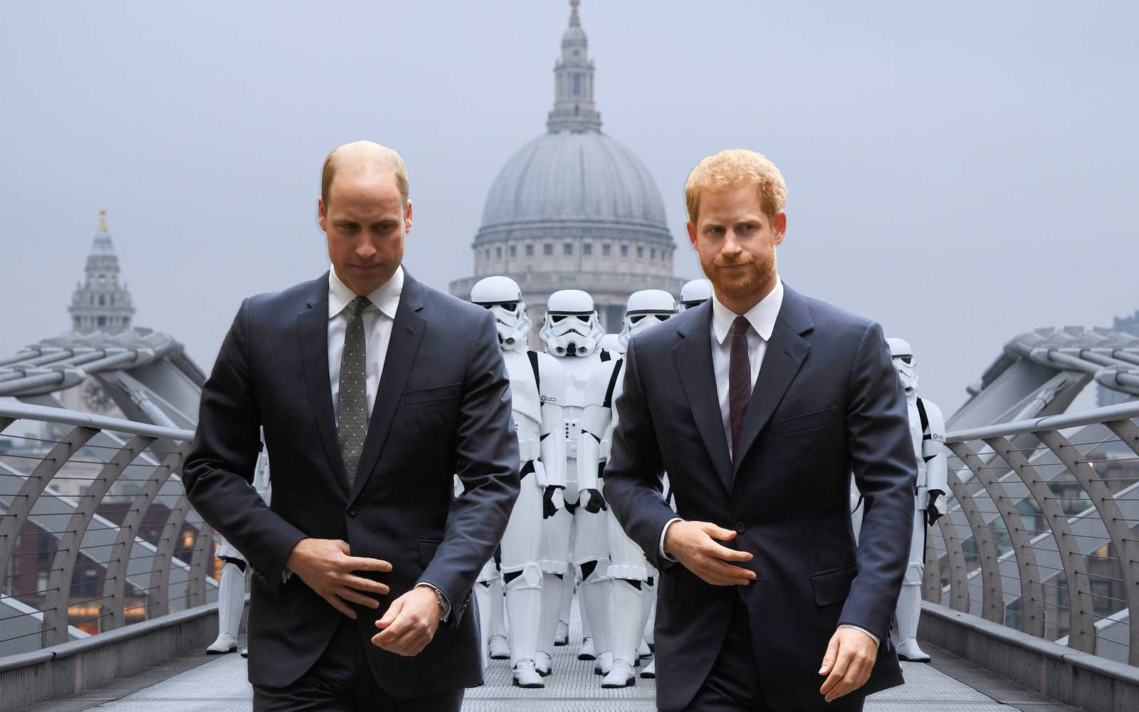 Prince William and Harry superimposed on Stormtroopers