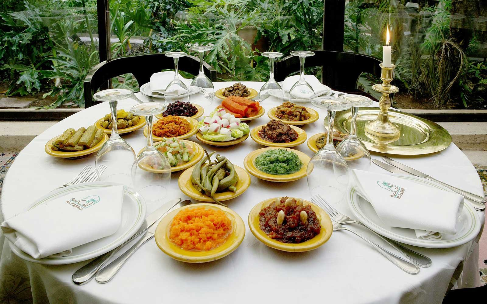 A spread of dishes at Al Fassia restaurant, in the Gueliz neighborhood of Marrakech
