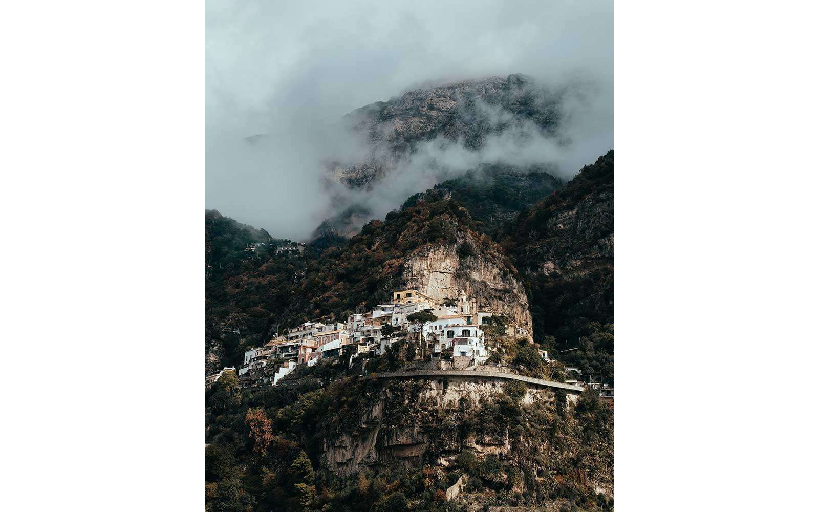 Foggy view of Positano, Italy