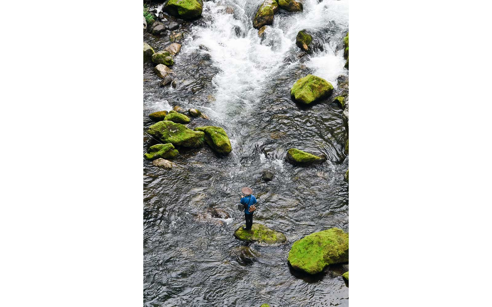 Fisherman standing in a river