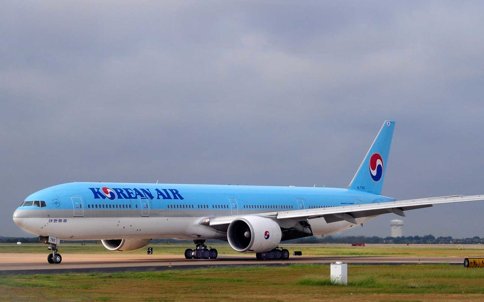 Korean Airlines plane on runway