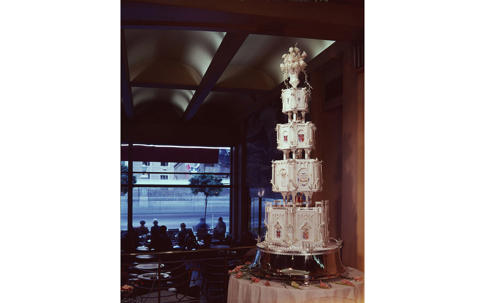 The tiered wedding cake for King Constantine's wedding.