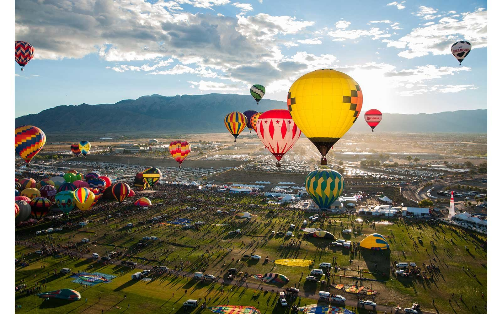 Balloon Fiesta seen from the sky