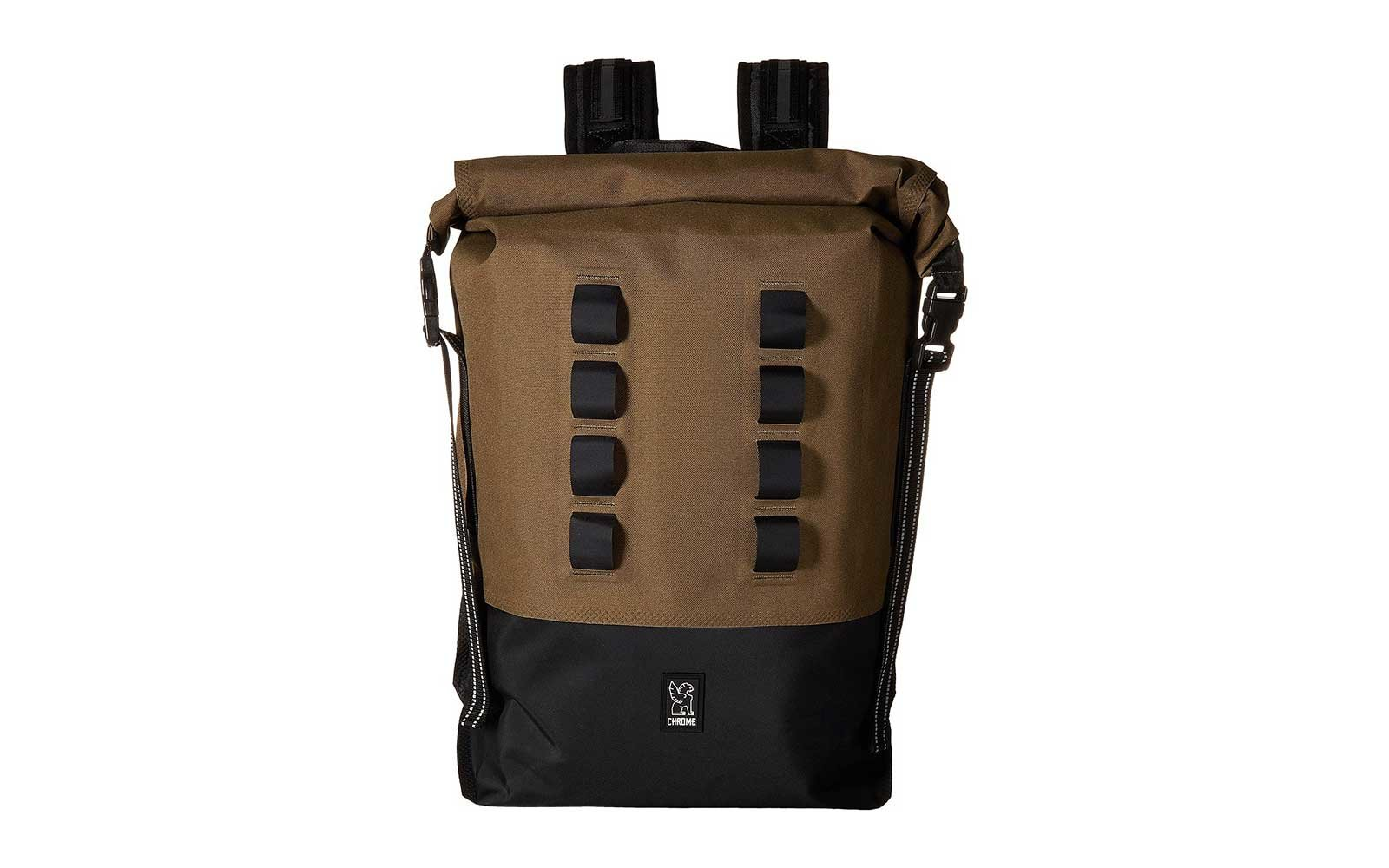 Brown rolltop waterproof backpack from Chrome Urban
