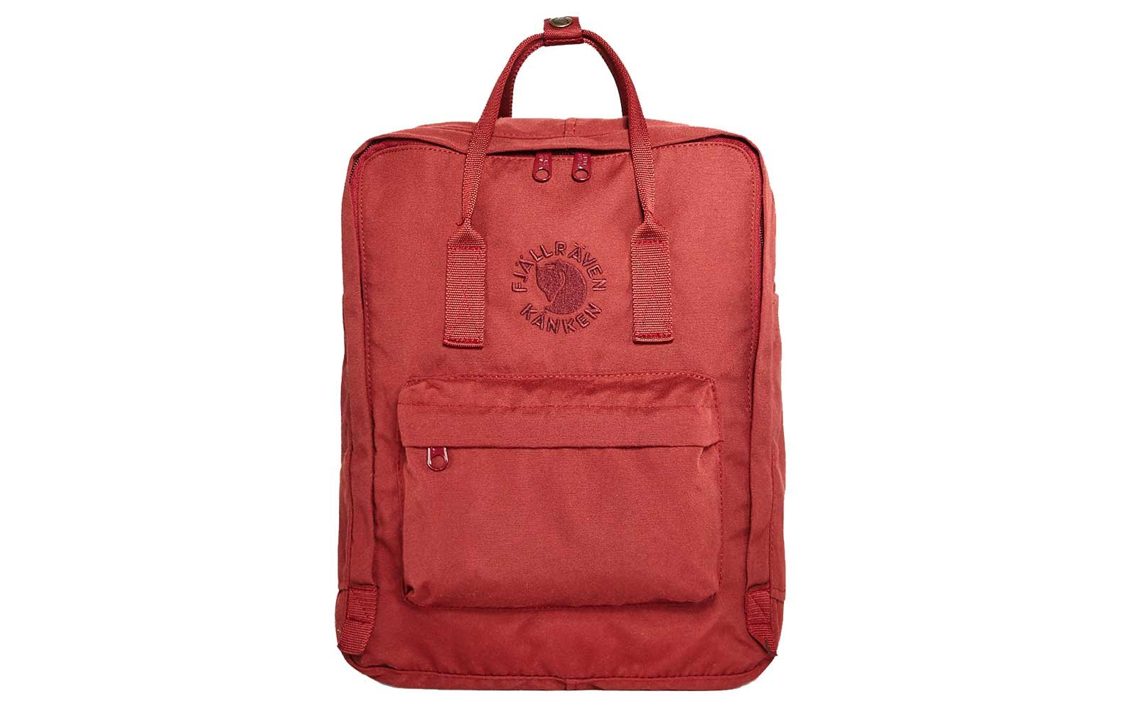 Red waterproof backpack from Fjallraven