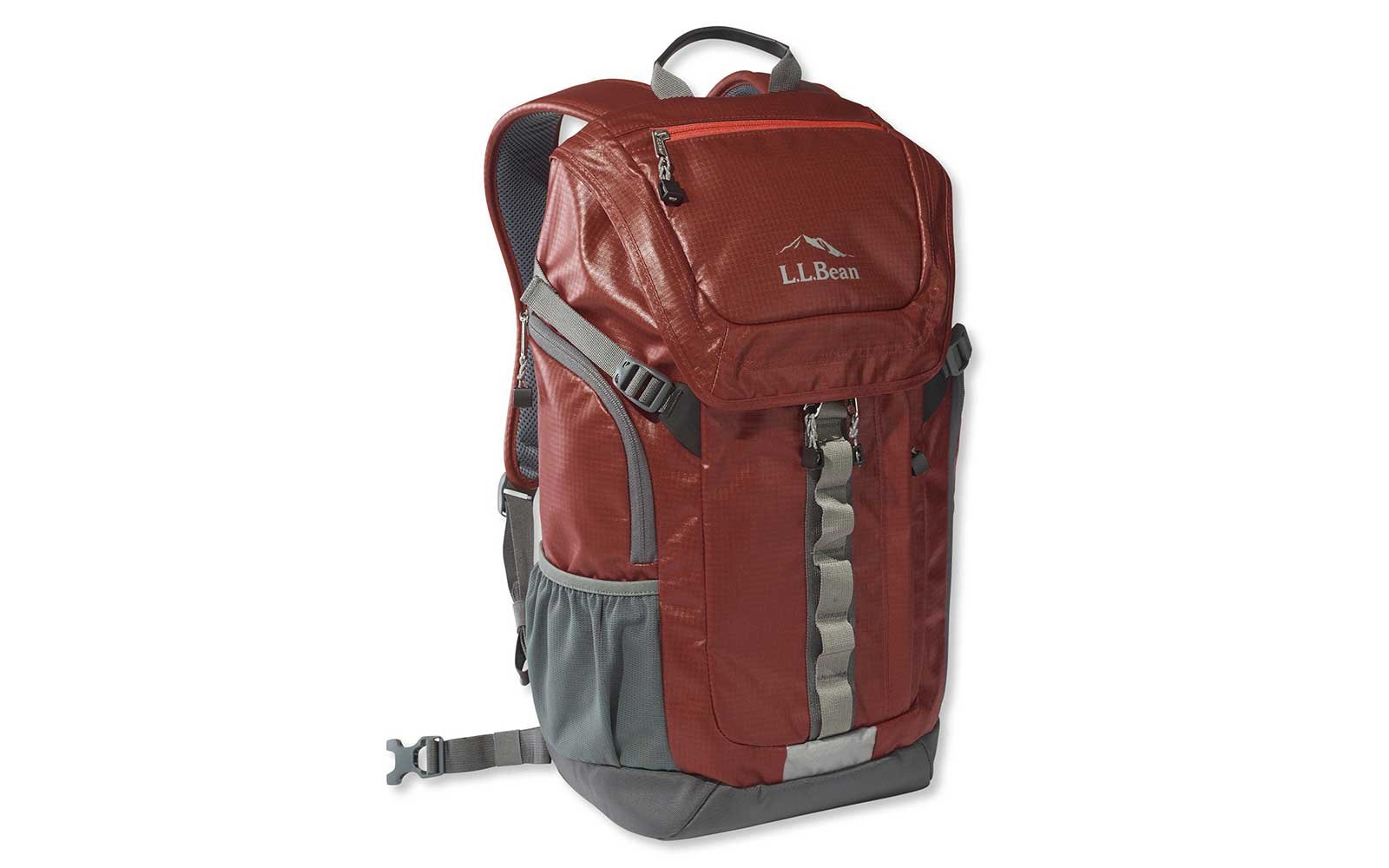 L.L. Bean burgundy waterproof backpack