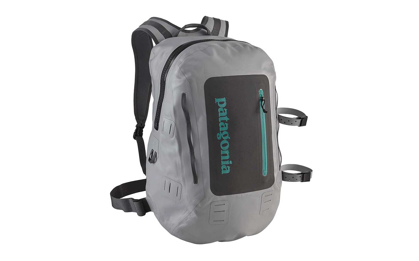Gray waterproof backpack from Patagonia
