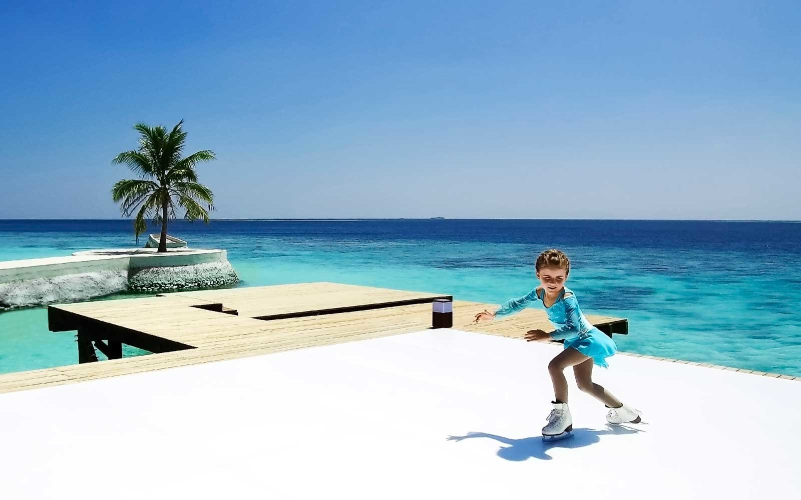 You can go ice skating on a tropical beach in the maldives for Tropical getaways in december
