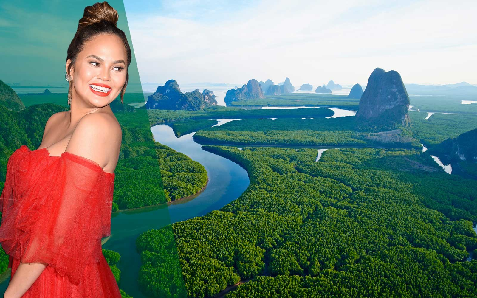 Chrissy Teigen superimposed on Thailand landscape