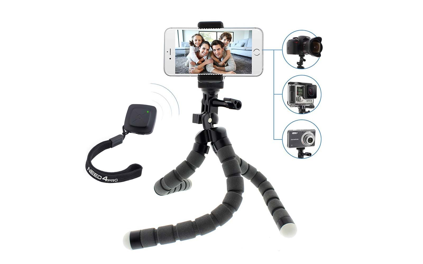 flexible tripod bluetooth remote