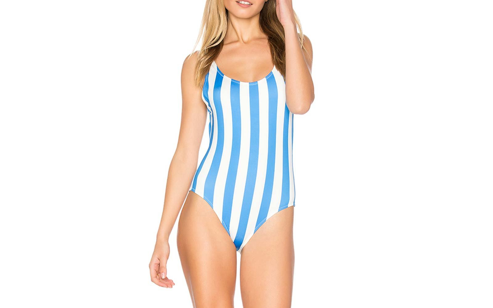 solid and striped swimsuit