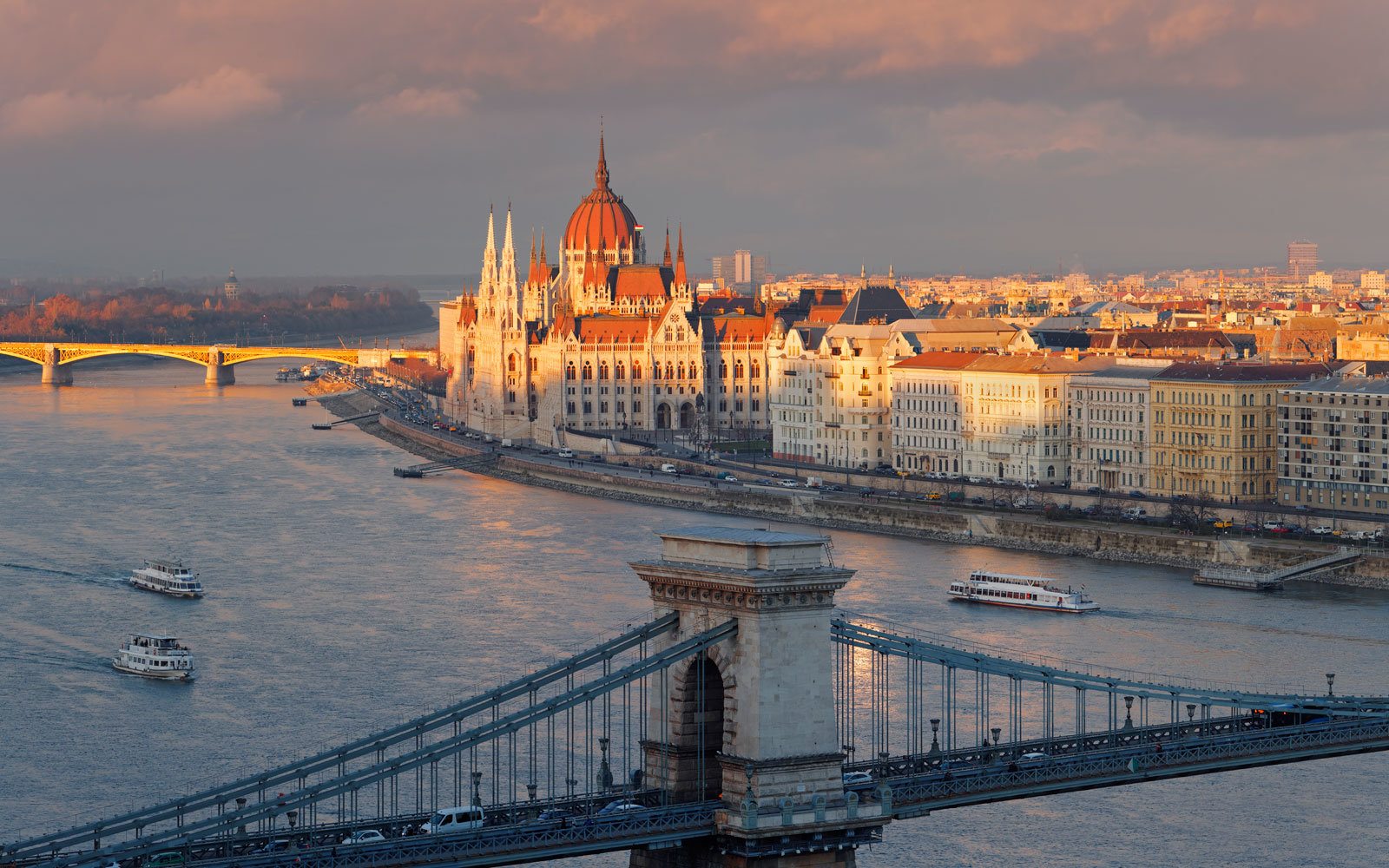 sunset on the Danube in Budapest, Hungary