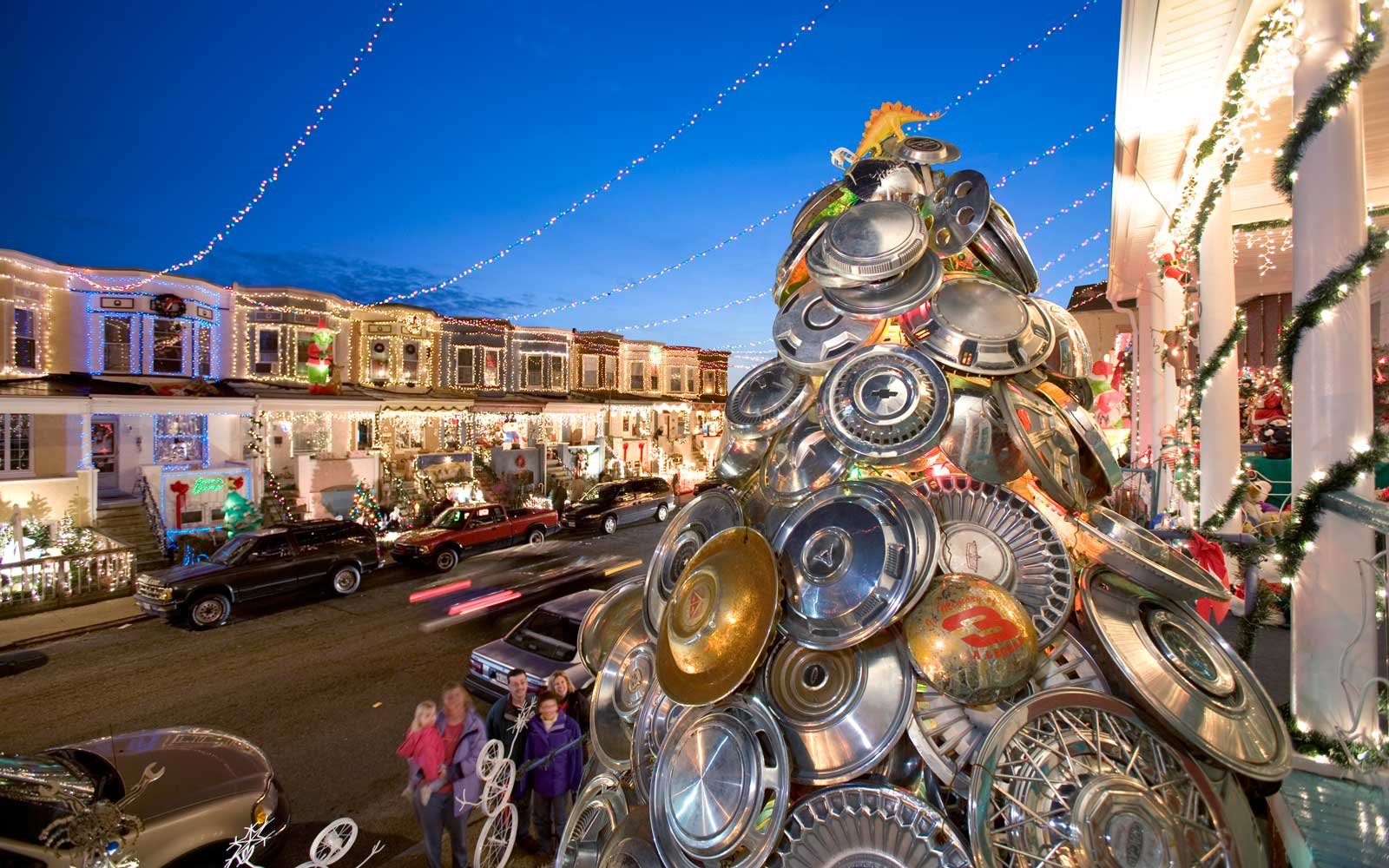 A tree constructed of hubcaps in Baltimore, Maryland