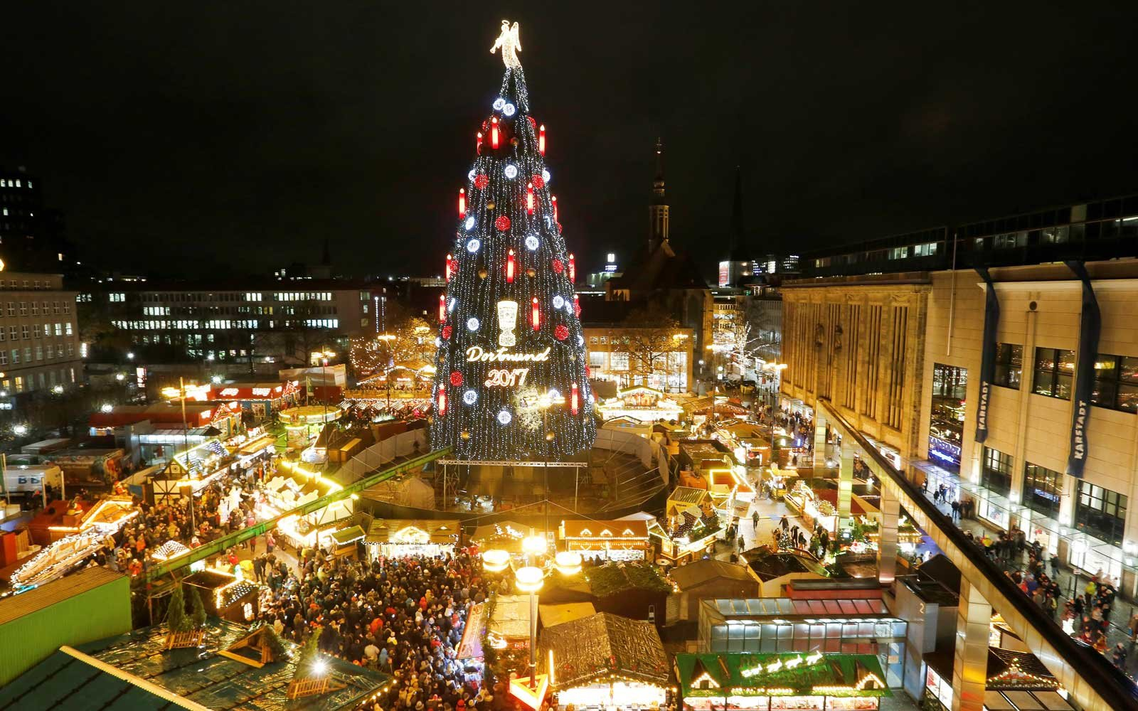 Giant Christmas tree in Dortmund, Germany