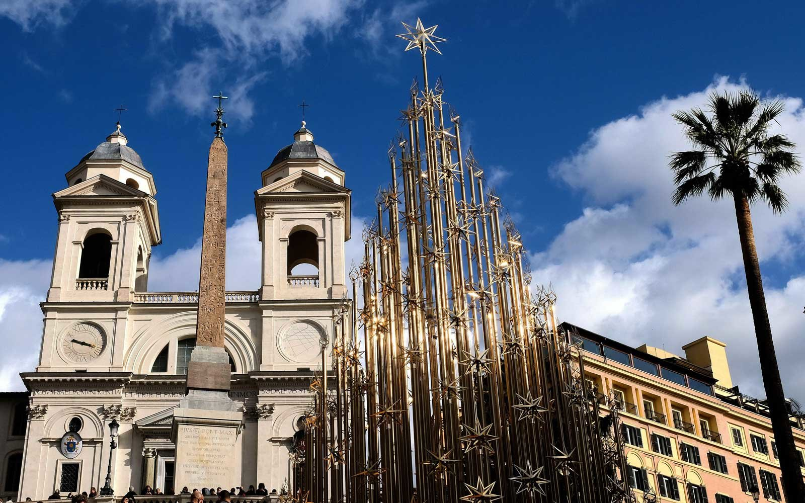 Metal Christmas tree in Rome, Italy