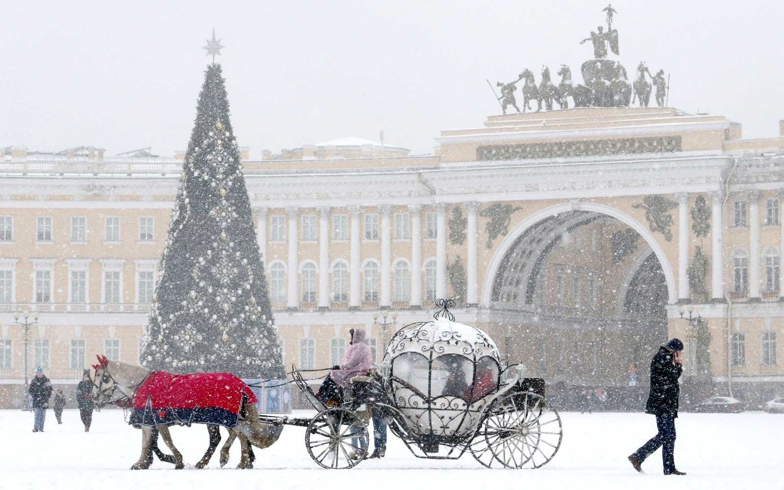Snowy Christmas scene in St. Petersburg, Russia
