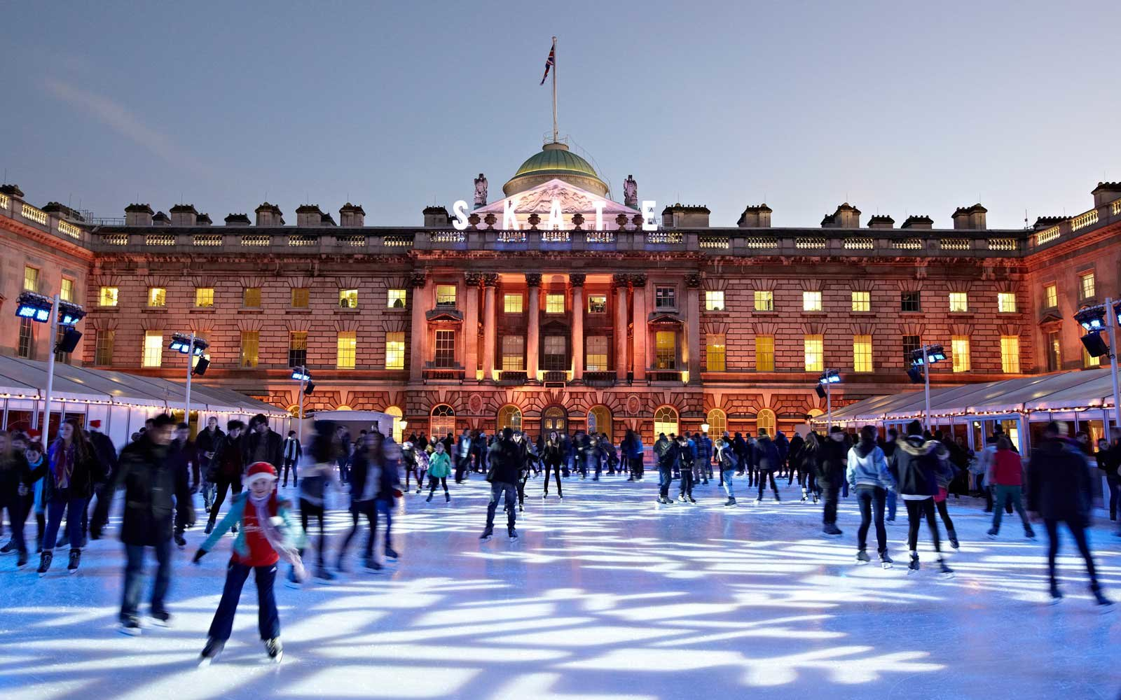 Ice skating rink in front of Somerset House in London