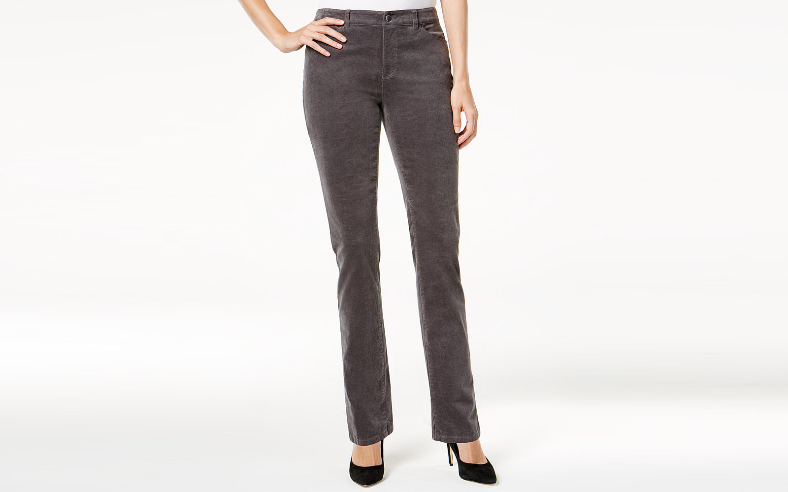 Charter Club Lexington Corduroy Straight-Leg Pants in Shadow Grey