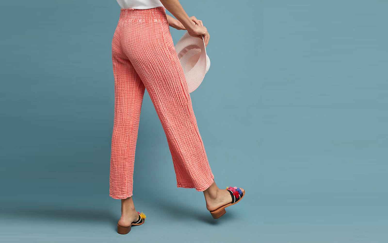 Michael Stars Smocked Wide-Leg Pants in Tangerine