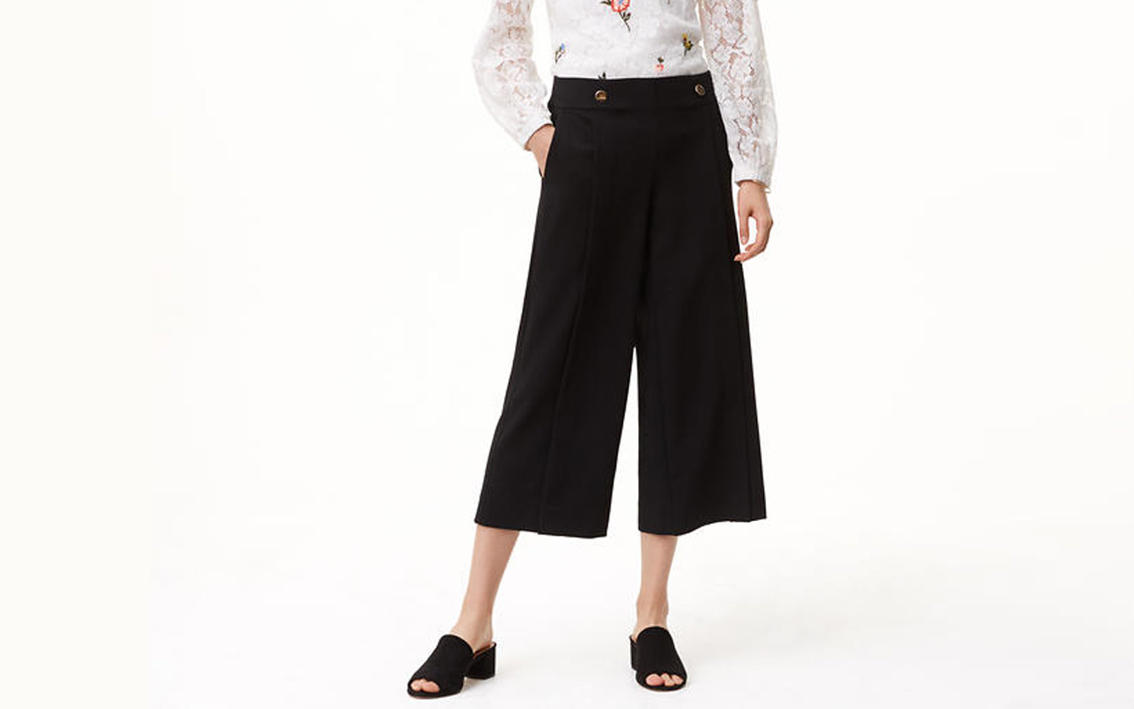 LOFT Crop Button Pants