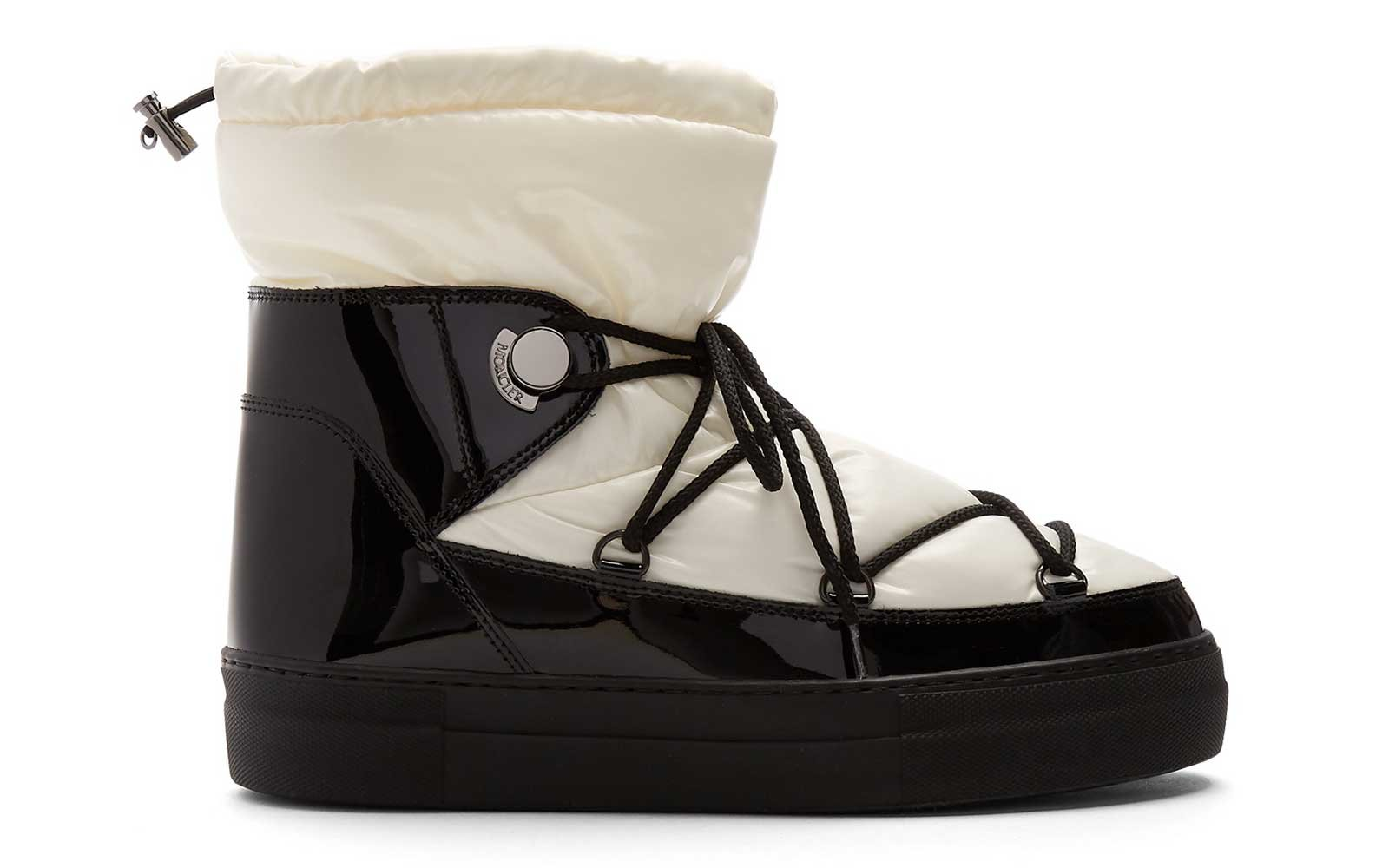 Nylon on black patent leather boots by Moncler