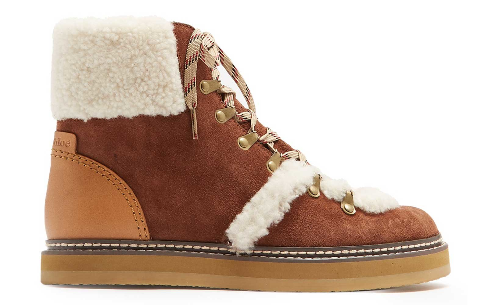 Shearling-trimmed suede boots from See by Chloe