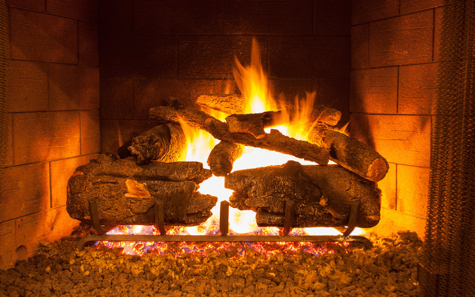 Log fire in a fire place.