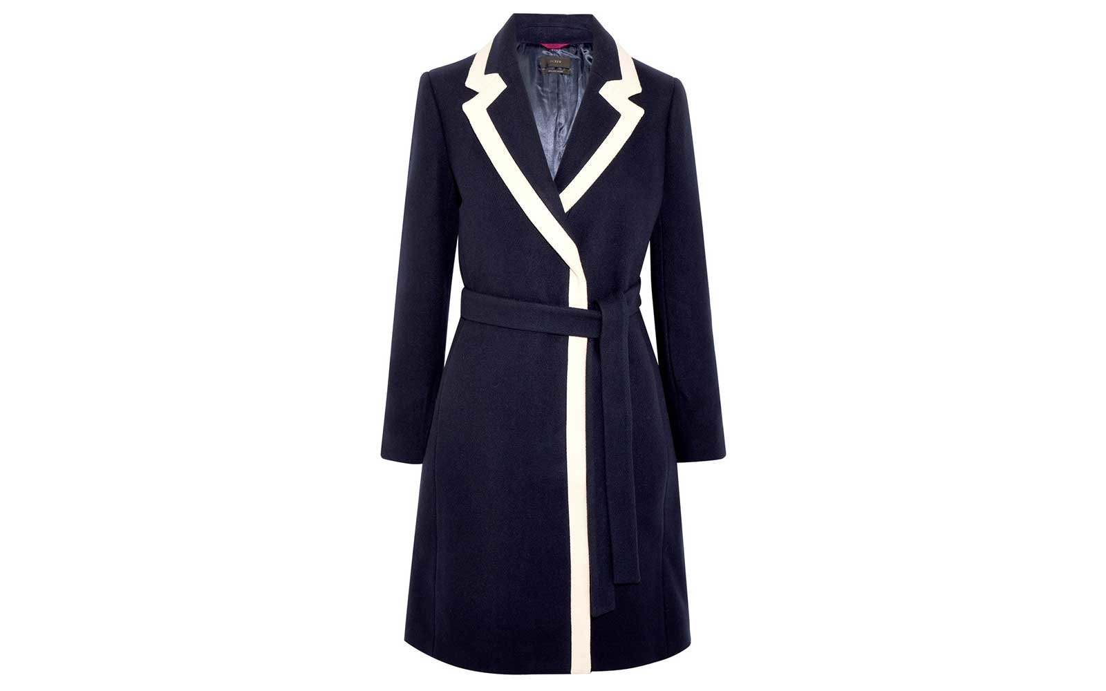 J Crew navy and white overcoat