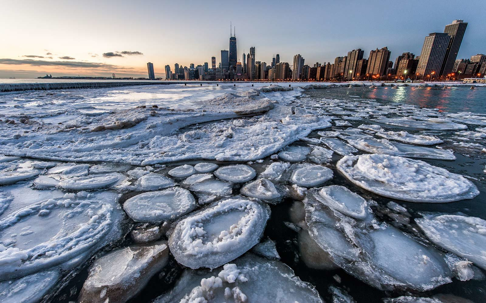 Ice on Lake, Chicago, illinois