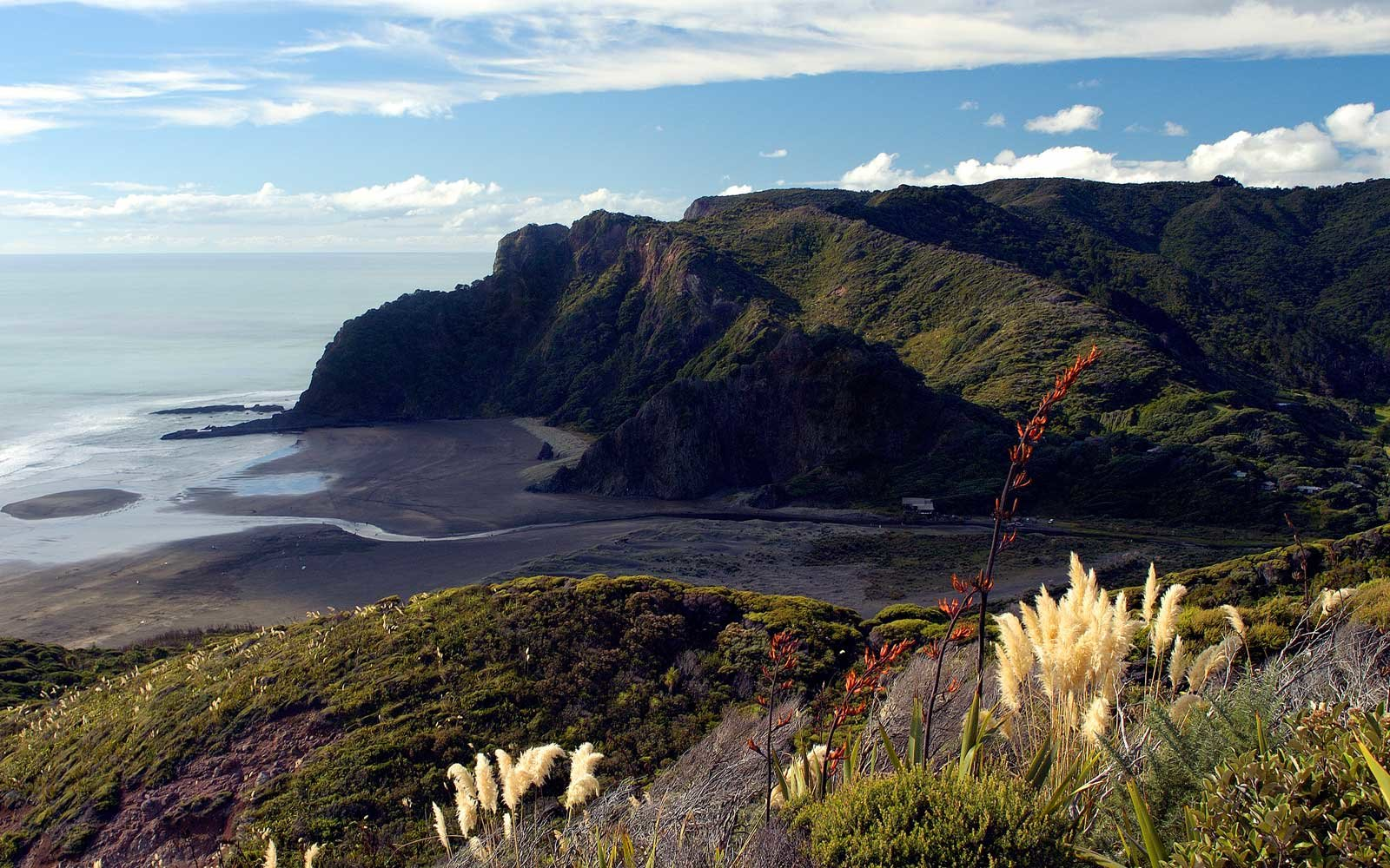 Karekare black sand beach, in New Zealand