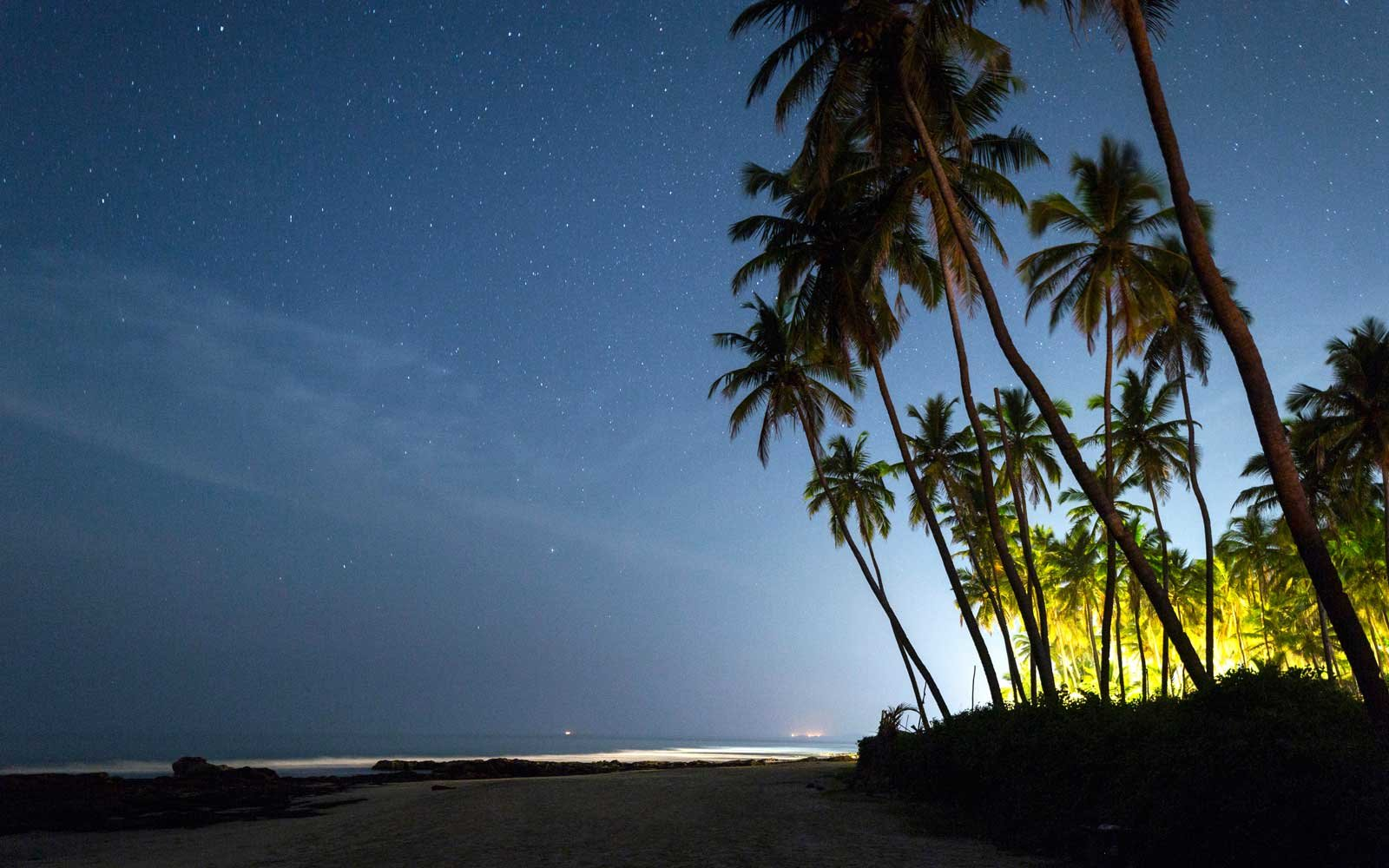 Night stars at Morjim Beach in Goa, India