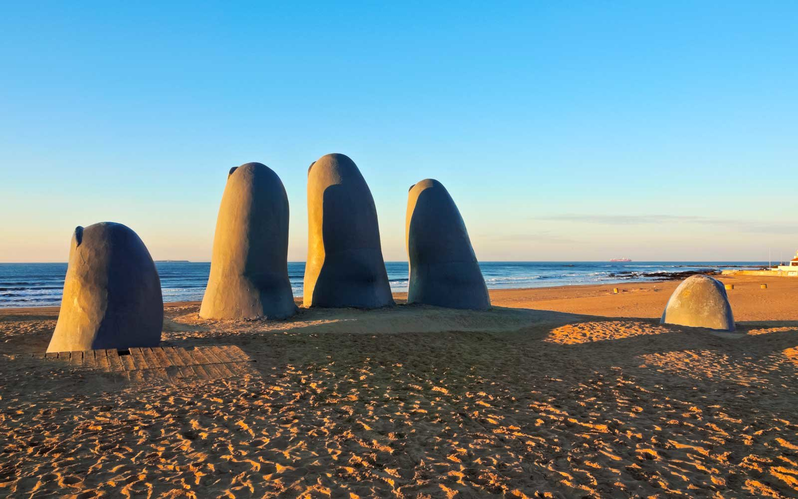 La Mano (The Hand), a sculpture by Chilean artist Mario Irarrazabal, Playa Brava, Punta del Este, Uruguay.