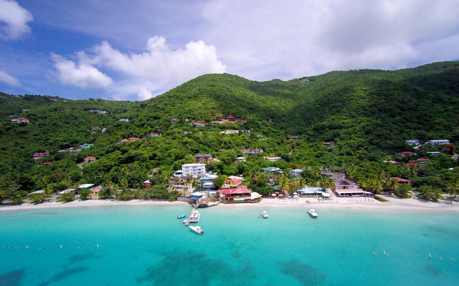 Aerial view of Cane Garden Bay, Tortola, BVI