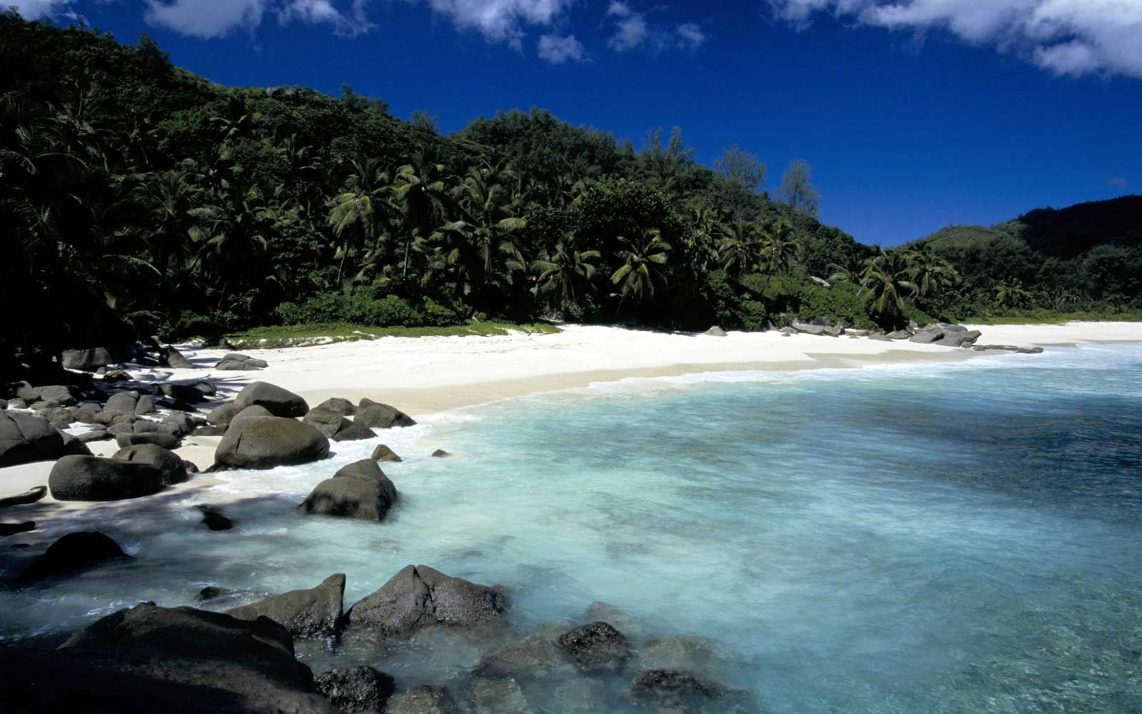 Clear waters of Anse Intendance Beach, in the Seychelles