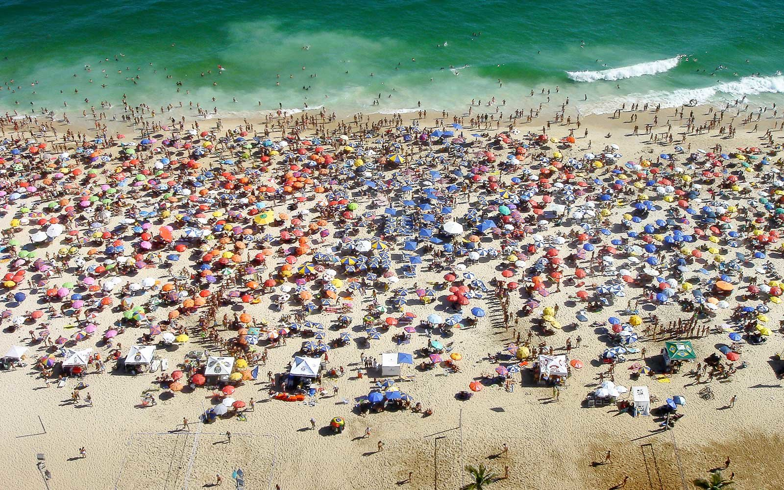 Subathers on famous Ipanema Beach, in Brazil