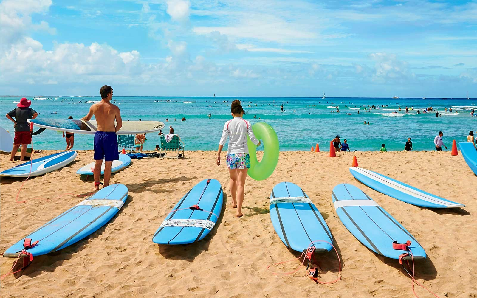 Surfers on Waikiki Beach, Hawaii