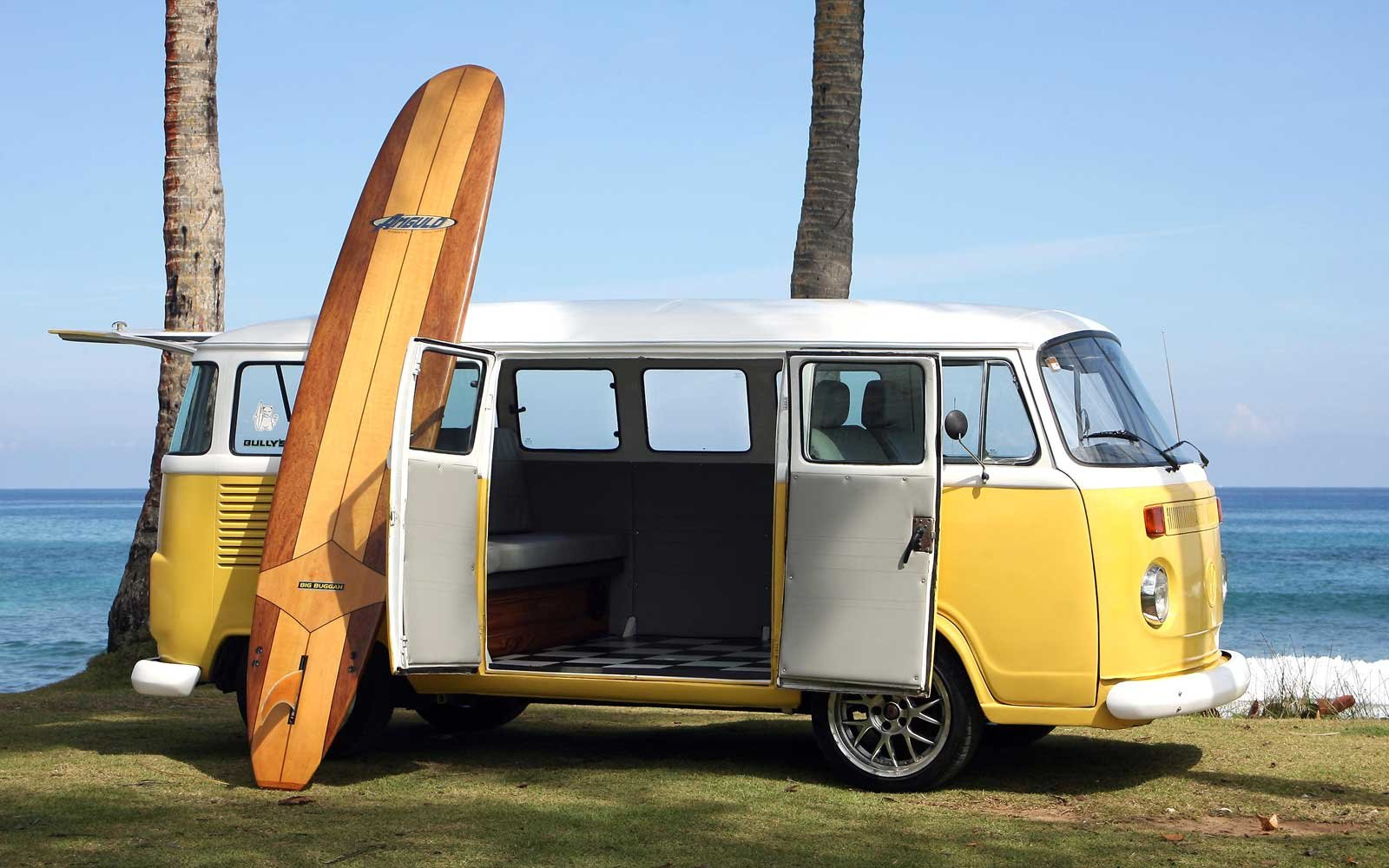 Playa del Encuentro, Cabarete (Dominican Republic). A vintage Volkswagen van completely restored is seen on the Encuentro Beach (Playa Encuentro) DR.